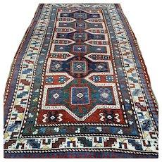 7 x 3.9 Antique 1880s Caucasian Kazak rug √ Free shipping