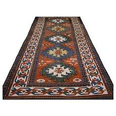 8.4 x 3.7 Rare antique Caucasian Kazak rug √ Free shipping