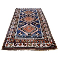 6.7 x 4 Antique 1800s Kazak rug √ Free shipping