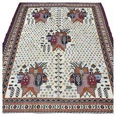 5.3 x 4.1  Tribal Sumak Kelim Oriental rug √ Free shipping