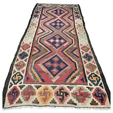 9.4 x 4.3 Antique colorful flatweave Oriental Kelim Kilim √ Free shipping