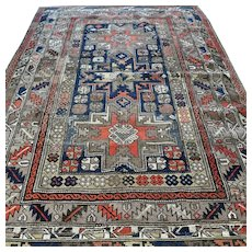 Free shipping - 5.4 x 3.8 Antique 1800s Caucasian Lesghi 'star' Kazak rug - collectors rug