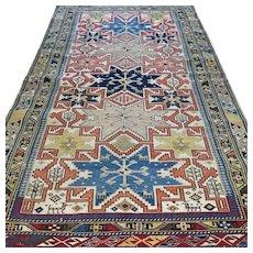 5.4 x 3.5 Antique 1800s Caucasian Lesghi 'star' Kazak rug √ Free shipping