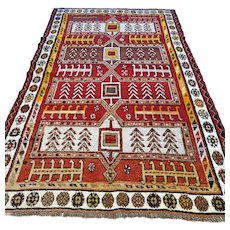 Free shipping - 10.9 x 3.7 Antique 1800s Caucasian tribal Kazak rug - collectors rug