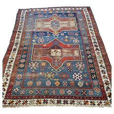 Free shipping - 7.8 x 4.2 Antique 1700s Caucasian Kazak rug - collectors rug