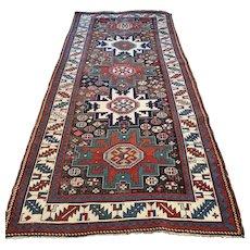 8.2 x 3.8 Antique 1800s Caucasian Lesghi 'star' Kazak runner √ Free shipping