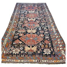 Free shipping - 7.8 x 4.2 Antique 1800s Caucasian Kazak runner rug - collectors rug