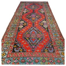8.4 x 3.7 Antique early 1900s Caucasian Karabakh Kazak rug √ Free shipping