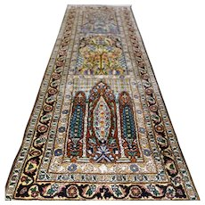 4.4 x 1.5 Luxury silk bohemian Kashmir tile runner rug √ Free shipping