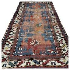 7.5 x 3.8 Vintage antique 1850s Kazak Oriental rug √ Free shipping