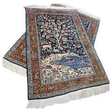 4.8 x 3.2 (2x) Exclusive animal kingdom Tabriz twin set with silk √ Free shipping