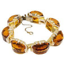 Vintage Fred A Block Honey Topaz Heavy Sterling Silver Bracelet in Gold - Red Tag Sale Item