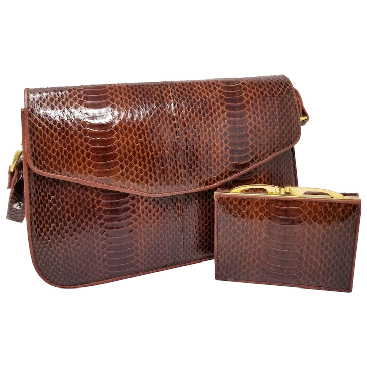 616874bd10234e Vintage Hato Hasi Genuine Snakeskin Brown Mahogany Purse w Long Strap :  Vintage Loft USA | Ruby Lane