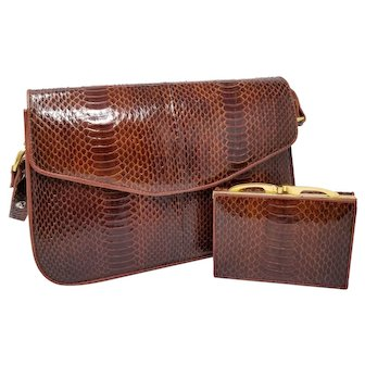 Vintage Hato Hasi Genuine Snakeskin Brown Mahogany Purse w Long Strap and Matching Wallet