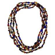 "Vintage Hand Blown Venetian Multicolor Glass Extra Long 94"" Rope Necklace"