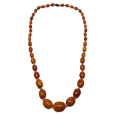 "Vintage Butterscotch Amber Bakelite 29"" Graduated Bead Necklace"