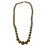 "Apple Green Marbled Bakelite 29"" Graduated Bead Necklace"