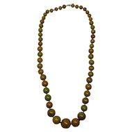 "Apple Green Marbled Bakelite 29"" Graduated Bead Necklace"