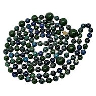 "Dark Green & Blue Marbled Bakelite 59"" Long Alternating Bead Necklace"