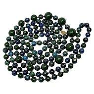 "Dark Green & Blue Marbled Bakelite 59"" Long Alternating Bead Necklace"