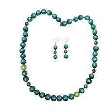 Vintage Moonglow Lucite Emerald Green Necklace and Earring Set