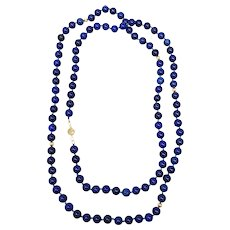 "Vintage Long 54"" Natural Indigo Blue Lapis Lazuli Necklace 14k Gold Beads 14k Clasp"