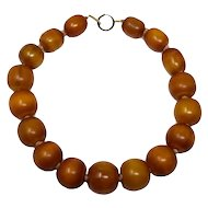 "Vintage Amber Butterscotch Bakelite 19"" Graduated Bead Necklace w/ 14K gold clasp"