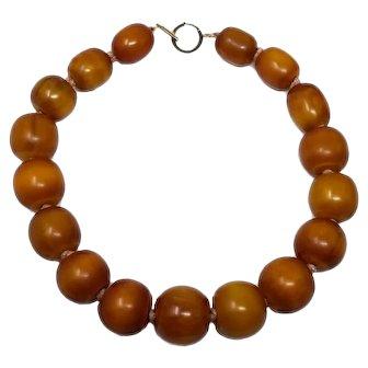 "Vintage Amber Butterscotch Bakelite 19"" Graduated Bead Necklace w/ 14K gold clasp"