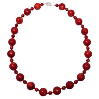 Vintage Italian 17mm Oxblood Natural Red Coral Necklace w/ Sterling Silver Clasp
