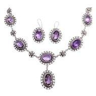 Antique Victorian Genuine Amethyst 800 Silver Demi Parure Earrings Necklace