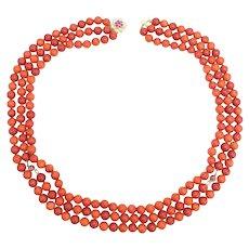 Salmon Coral Triple Strand Bead Necklace, 14 Karat Gold Ruby Diamond Clasp