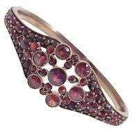 Antique Victorian Pave Garnet Hinged Bangle Bracelet in Sterling Silver