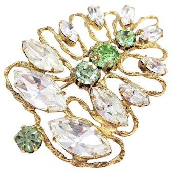 Freirich Abstract Floral Prong Set Clear and Green Crystal Pin, Brooch in Gold