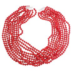 10 Strand Genuine Sea Coral 7mm Bead Necklace with Sterling Silver Sliding Clasp