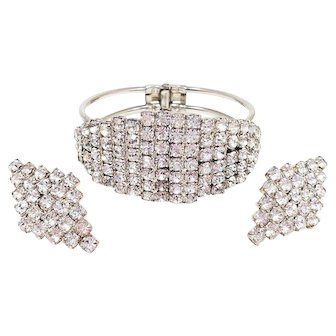 Art Deco Demi Parure Pave Clear Crystal Geometric Clip On Earrings and Bracelet