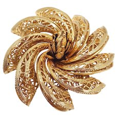 Large Corocraft Gold Filigree Flower Brooch Pin, 1950s