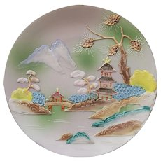 """7"""" Vintage 3D Hand Painted Plate Wall Plaque Japan"""