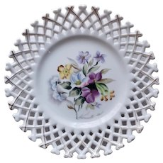 """8"""" Vintage Westmoreland Glass Hand Painted Flowers Plate Wall Plaque"""