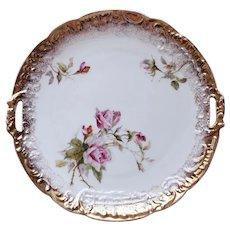 "9"" Antique C.T. Carl Tielsch Porcelain Gold Gilded Handled Cake Plate Germany"
