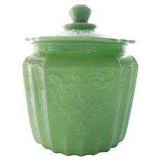 ANCHOR HOCKING Mayfair Jade Green Depression Glass Cookie Jar & Lid