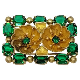 Vintage Czechoslovakia Signed Floral Rectangular Brooch with Green Crystals in Gold Tone
