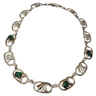 Vintage 14K Gold & Silver Green Crystal Symmetalic Sterling Choker Necklace 15""
