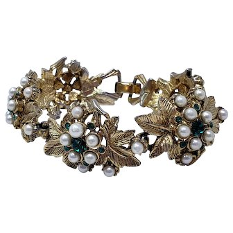 Antique Gold Plated Floral Bracelet with Emerald-Colored Green Crystals and Faux Pearl Clusters