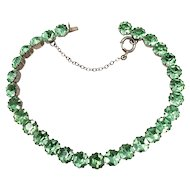 Antique Victorian Sterling Silver Faceted Peridot Colored Rhinestone Bracelet