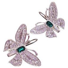 Vintage KENNETH JAY LANE KJL Glass Crystal Butterfly Earrings