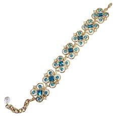Vintage KJL Kenneth Jay Lane Aqua Blue Crystal Bracelet