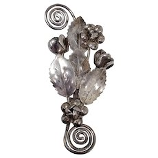 Hobe Sterling Silver Patented Pin Brooch Floral Bouquet Cluster