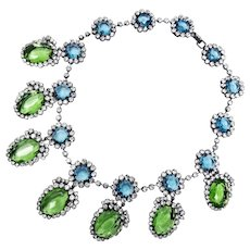 Vintage Kenneth Jay Lane KJL Peridot and Aquamarine Colored Drop Necklace