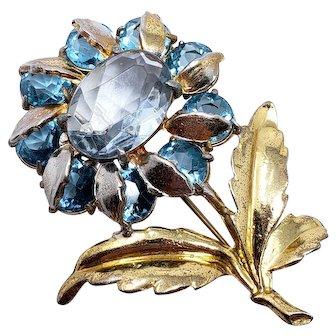 Large Vintage Metallic & Crystal Flower Brooch