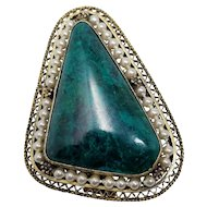 Victorian Green Stone and Imitation Pearl Sterling Silver Gold Plated Brooch/Pin